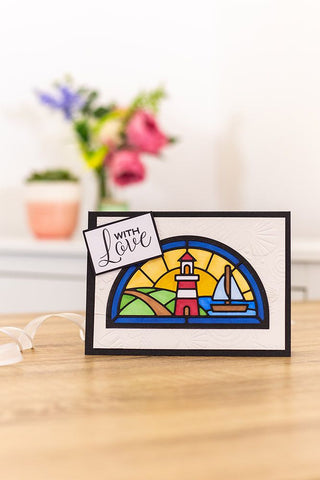 """Crafters Companion 5"""" x 7"""" Half Moon Window Aperture - Die Cut Card Bases and Envelopes"""