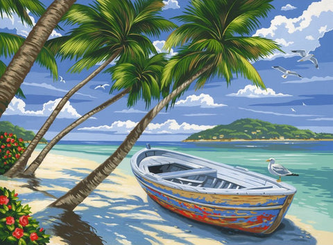 Reeves Large Painting By Numbers - Tropical Beach