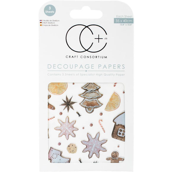 Craft Consortium - Decoupage Papers - Christmas - Gingerbread