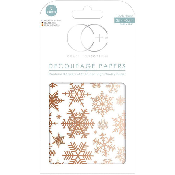 Craft Consortium - Decoupage Papers - Christmas - Glistening Snow W/Copper