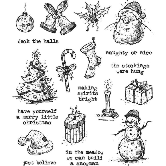 Tim Holtz - Cling Mount Stamps - Tattered Christmas