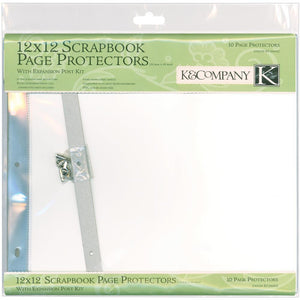 "K&Company Post Bound Page Protector Refills 12""X12"" 10/Pkg - W/White Inserts"