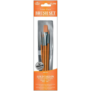 Taklon Paint Brushes - Gold Taklon Value Pack Brush Set 4pc