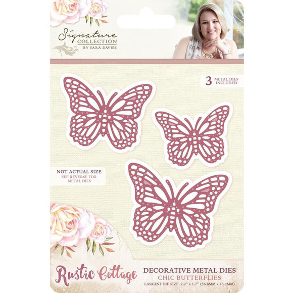 Crafter's Companion - Sara Davies Signature Rustic Cottage Metal Dies - Chic Butterflies