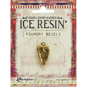 Ice Resin Foundry Bezel Collection - Gold Hammered Heart