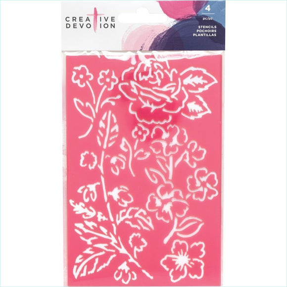 Creative Devotion Stencils 4/Pkg - Pink