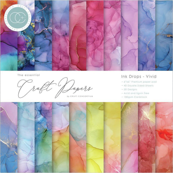 Craft Consortium - The Essential Craft Papers - Ink Drops - vivid - 20 Designs