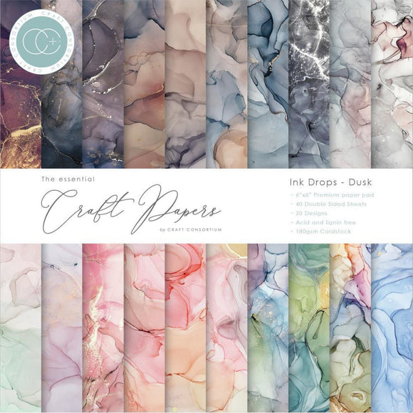 Craft Consortium - The Essential Craft Papers - Ink Drops - Dusk - 20 Designs