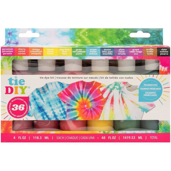 American Crafts - Medium Tie Dye Kit 4oz 76/Pkg (12 assorted bright colours)