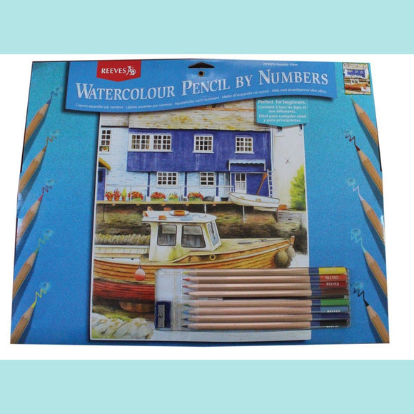 Reeves Water Colour Pencil By Numbers - Seaside View