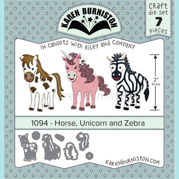 Karen Burniston - Horse, Unicorn and Zebra Die