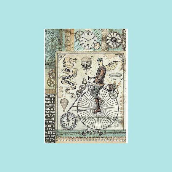 Stamperia - A4 Rice Paper Packed Voyages Fantastiques Retro Bicycle