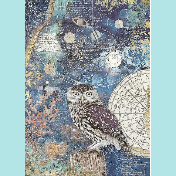 A4 Rice Paper Packed Cosmos Owl