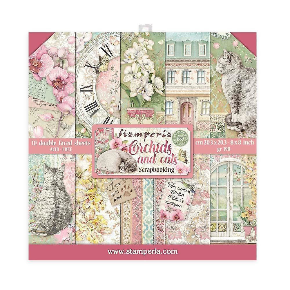 Stamperia - Scrapbooking Mini Pad 10 sheets cm 20.3x20.3 Orchids and Cats