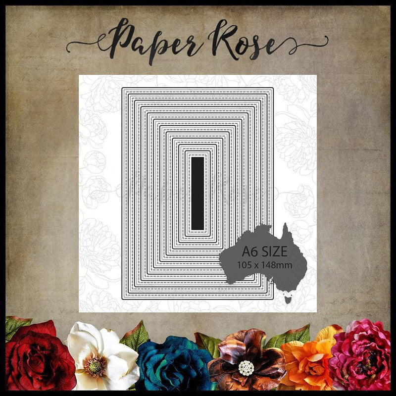 Paper Rose - Stitched Rectangles 10.5 x 14.8  - Metal Cutting Die