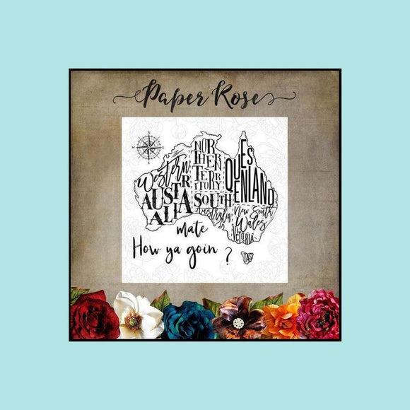 Paper Rose - Map of Australia - Stamp and Die