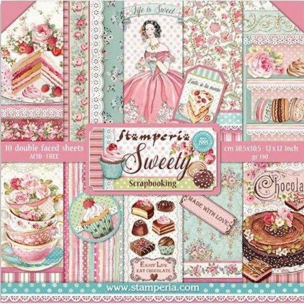 "Stamperia - Block 10 sheets 30.5x30.5 (12""x12"") Double Face Sweety"