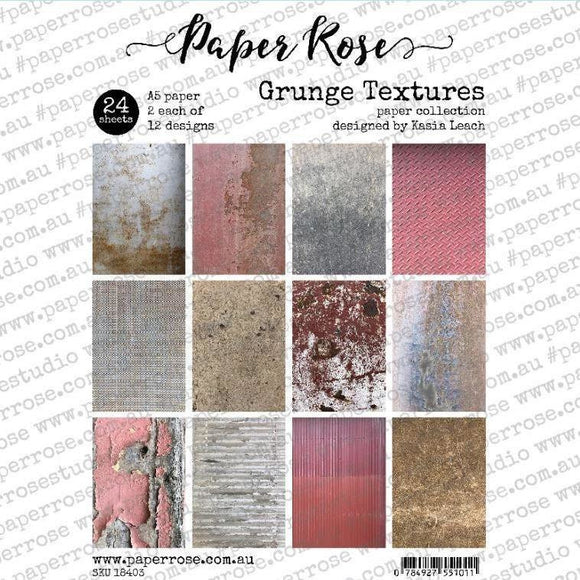Paper Rose - Grunge Textures - A5 24pc Paper Pack