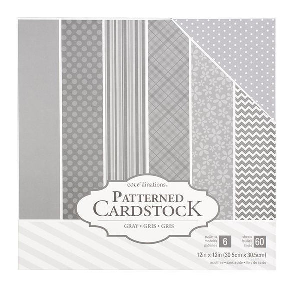 Coredinations  - 12 x 12 Patterned Cardstock - Grey - 60 Sheets
