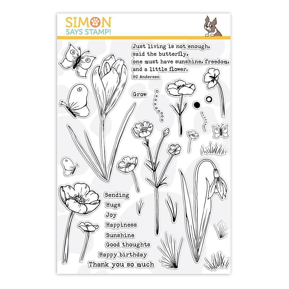 White Smoke Simon Says - Thoughtful Flowers Clear Stamp