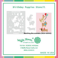Waffle Flower - Birthday Puppies Stencil