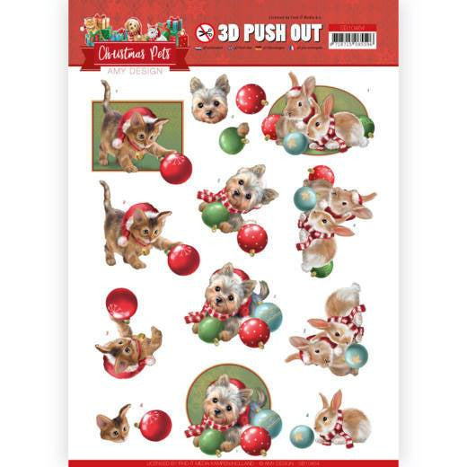 Amy Design - Christmas Pets - 3D Push Out Christmas Balls