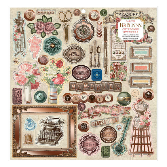 BoBunny - Family Heirlooms - 12 X 12  Chipboard - Copper Foil (54 piece)