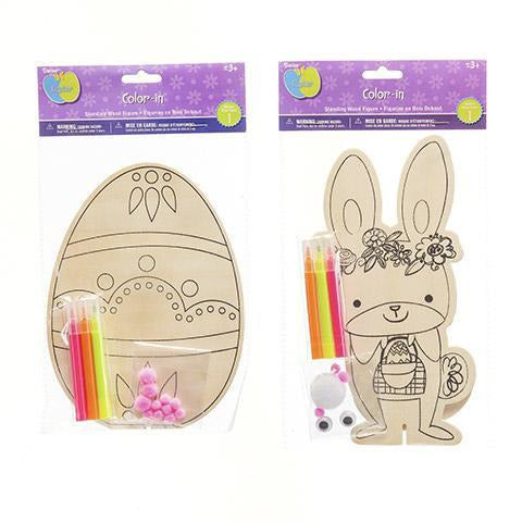 Easter Color-in Kit: Wood Bunny and Egg Shapes, Assorted, 7.5 to 8.75 inches