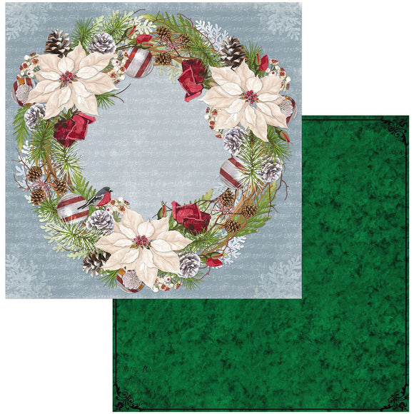 BoBunny - Joyful Christmas Patterned Paper  - 12 X 12 - Wreath