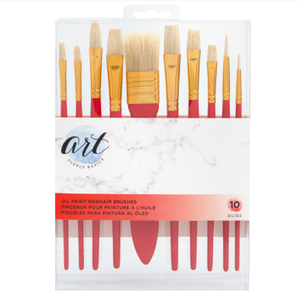 American Crafts - Art Supply Basics Collection - Paint Brushes - Oil Paint - HogHair Bristles - 10 Pieces