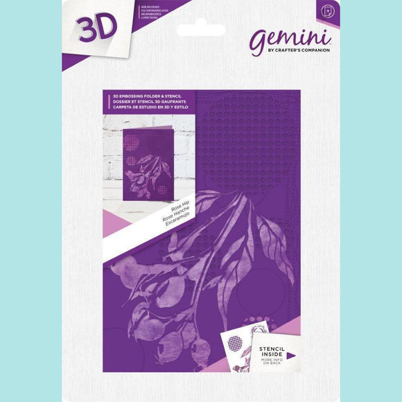 Crafter's Companion Gemini 3D Embossing Folder & Stencil - Rose Hip