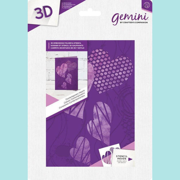 Crafter's Companion Gemini 3D Embossing Folder & Stencil - Contemporary Hearts