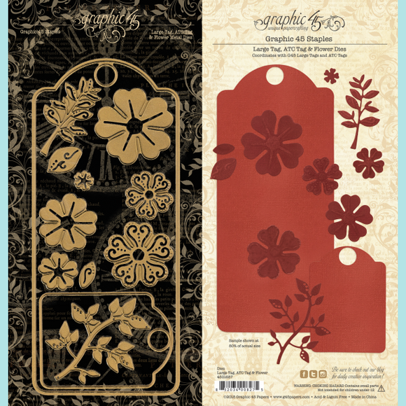 Graphic 45 - Large Tag, ATC Tag and Flower Dies