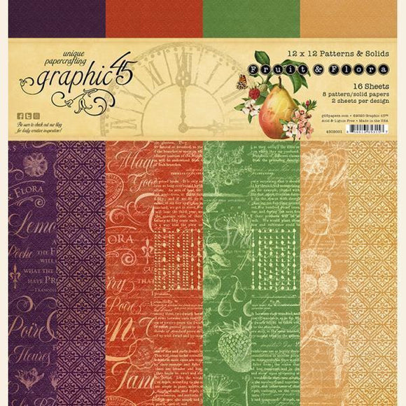 Graphic 45 - Fruit & Flora Patterns & Solids Pad
