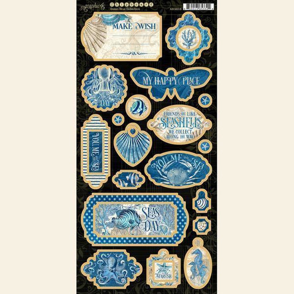 Graphic 45 - Ocean Blue Chipboard