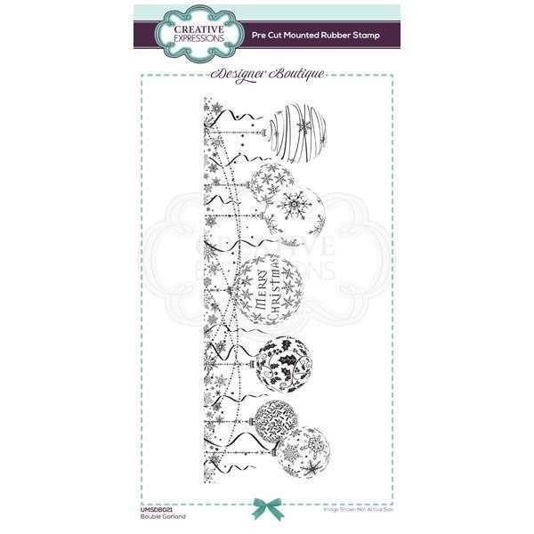 Creative Expressions - Designer Boutique Collection Bauble Garland DL Pre Cut Rubber Stamp