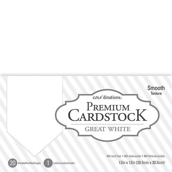 Coredinations Value Pack Smooth Cardstock 12X12 inch - Great white - 20 pages
