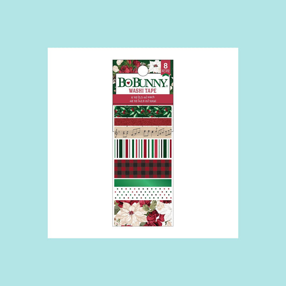BoBunny - Joyful Christmas - Washi Tape - Green Foil & Red Glitter 8 piece