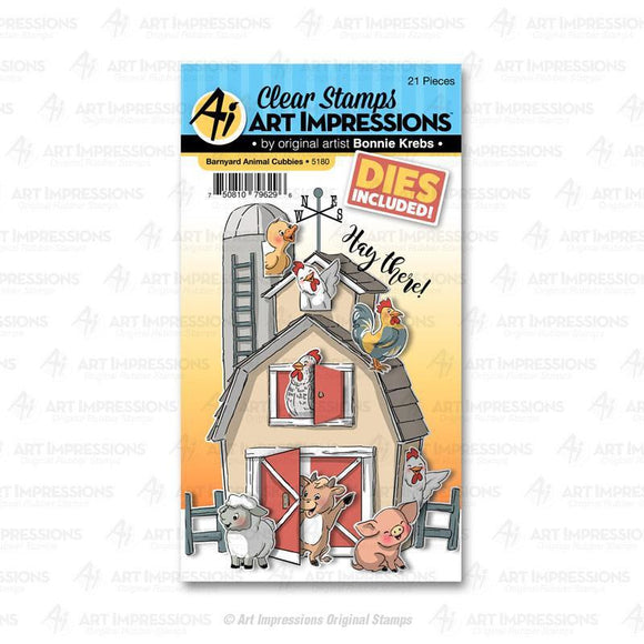 Art Impressions - 5180 – Barnyard Animal Cubbies Stamps and Dies