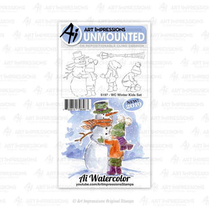 Art Impressions - 5197 – WC Winter Kids Rubber Stamp Set