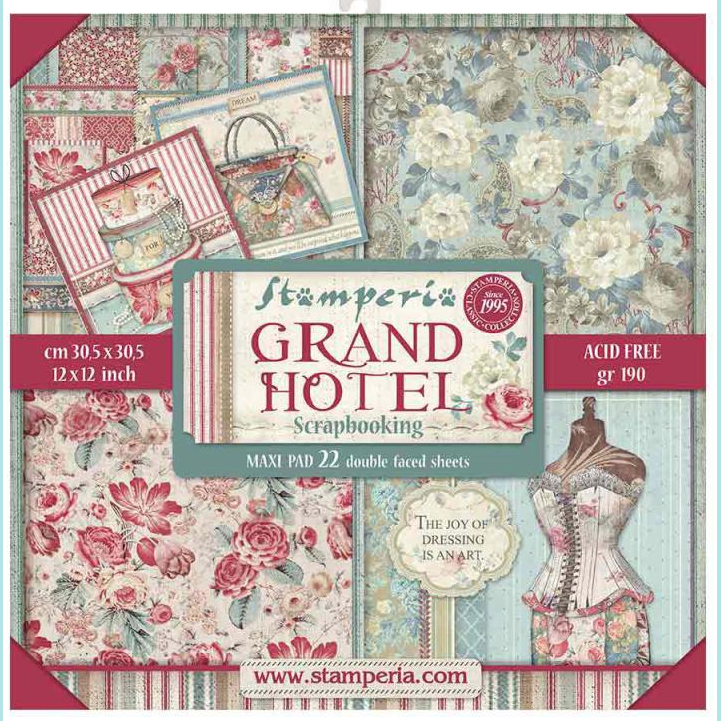 "Stamperia - Block 22 sheets 30.5x30.5 (12""x12"") Double Face Grand Hotel"
