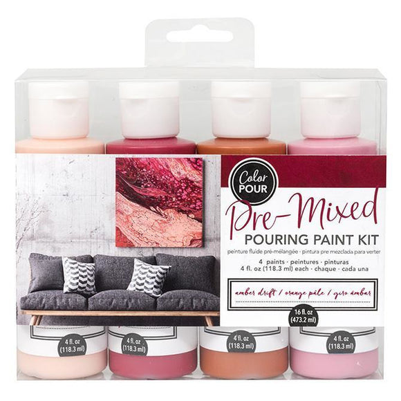 American Crafts - Color Pour Pre-Mixed Pouring Paint Kit 4 pack