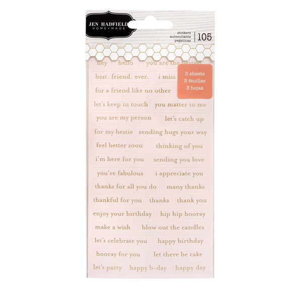 American Crafts - Pebbles - Jen Hadfield - Hey, Hello - Repeat Label Stickers - Gold Foil