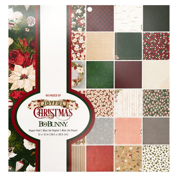 BoBunny - Joyful Christmas Patterned Paper Pad  - 12 X 12 - 48 Sheets