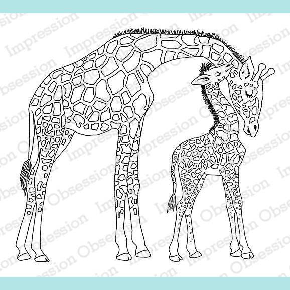 Impression Obsession - Giraffe Mom and Baby Stamp