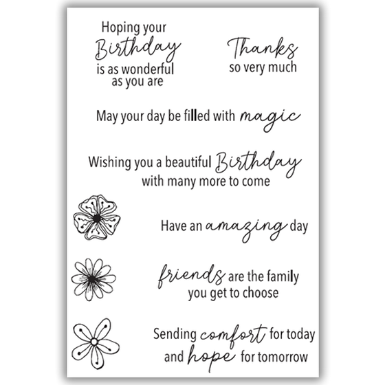 Julie Hickey - Positive Wishes Stamp Set