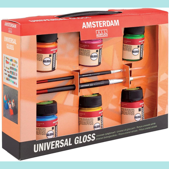 Amsterdam - Royal Talens Universal Gloss Set - 6 x 16 ml + 2 Brushes