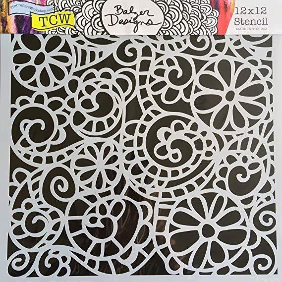 TCW Balzer Design Stencils - Mini Swirly Garden