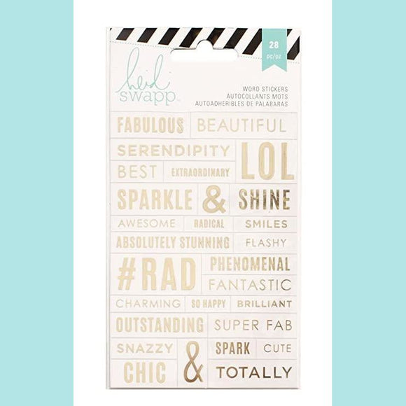 American Craft - Heidi Swapp - Word Jumbles - Clear Gold