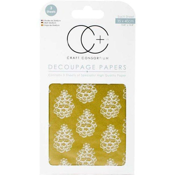 Craft Consortium - Decoupage Papers - Christmas - Golden Pine W/Metallic Gold